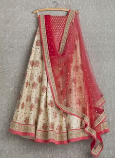 Lehengas by SwatiManish : Pearl lehenga with coral pink dupatta