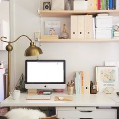 Future Home Office/Music Room: Ikea drawers from Home, matching lack shelves and white topped desk with gold legs.