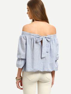 Blusa rayas hombro al aire lazo
