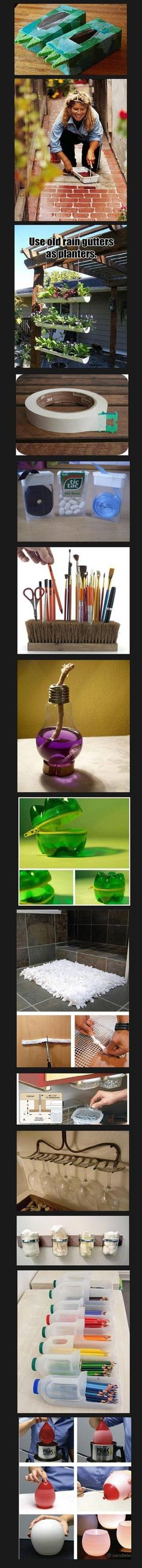 Some creative ideas for re-use of common products for practical purposes!