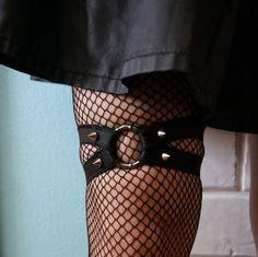 Black cyber goth garters PAIR grunge bdsm  Oring by LenaMeray