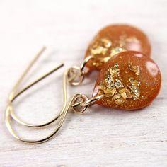 pumpkin orange teardrop earrings on 14k gold fill by tinygalaxies, $24.00