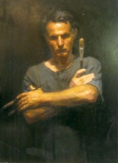 Robert Hannaford (1944 - ) | Selfportrait-3x3-1990 || Learn more about artist here: http://www.roberthannaford.com.au/contact.html