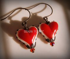 Check out Tough Love Earrings-Red Plump Lampwork Bds, Red Crystals & Oxidized French Earwires on beadstoart