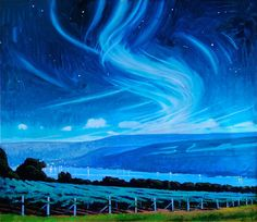 Keuka Nocturne with Mares' Tails (oil on linen, 26×30) by Brian Keeler #Landscape #Nocturne