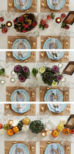 Instead of a traditional centerpiece, group seasonal elements for a casual yet sophisticated table.