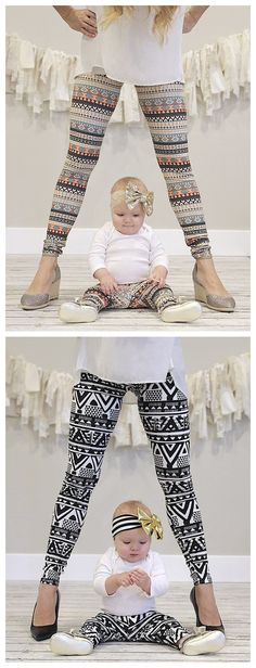 Bring love on your family life! These matching leggings are perfect for casual or outdoor. Featuring high-waisted and stretch waistband. These leggings are super comfy! Just take it.