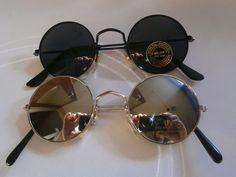 Lot of 2 Sunglasses John Lennon Style Mirror Glasses 70s Round Hippie Retro N2