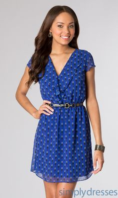 Dress, Short Print V-Neck Dress - Simply Dresses