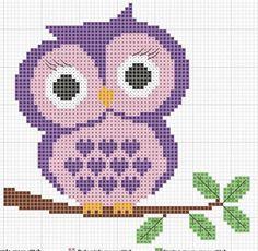 Baixe este lindo gráfico de ponto cruz de coruja, para bordar almofadas, lençóis, fraldas, canto de mesa e outros trabalhos com ponto cruz.