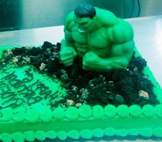 Hulk cake for my sons 5th birthday Green fondant silver food