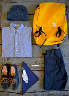 """independencechicago:    Engineered Garments 19th Century Chambray Shirt  Oak Street Bootmakers Navy Trail Oxford  The Printed Image """"Birds of Prey"""" Bandana  Colonial Vintage Deadstock Pocket Knife  Engineered Garments Ripstop Ground Crew Pant  South2West8 Canoe Pack  Columbiaknit Cap"""