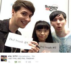I MET PHIL AND PHIL TRASH #1 https://twitter.com/justaphantasy // Dan and Phil at Sitc 2015