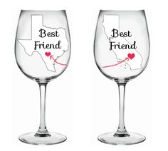 Our charming best friend wine glass were painted with your best friend in mind. The set comes with 2 glasses, each glass featuring the state your best friend lives in and a heart.