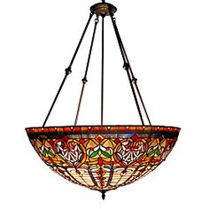 @Overstock.com - Tiffany-style Victorian Large Chandelier - Grand and eye catching, this Tiffany-style chandelier features rich hues of ivory, green and red. The repeating geometric shapes and bronze finish add interest to this lighting fixture.  http://www.overstock.com/Home-Garden/Tiffany-style-Victorian-Large-Chandelier/5272166/product.html?CID=214117 $276.76