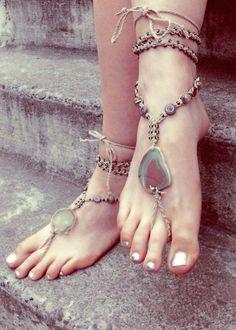 Rustic Gypsy Barefoot Sandals. Bohemian macrame jewelry. micromacrame bottomless sandals.