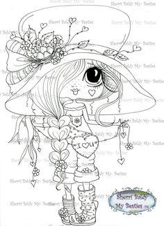 INSTANTÁNEA descargar Digital Digi sellos ojo grande Big Head Dolls Digi Img510 por Sherri Baldy
