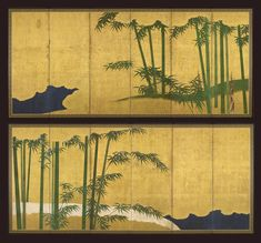 A pair of six-fold paper screens, Japan, Edo period, 18th century. Ink and colour on a gold ground with take (bamboo), 170.5 x 377 cm (67.3 x 148.5 in.). © Gregg Baker Asian Art