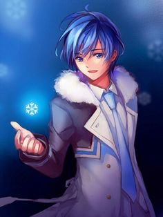 "Kaito is my favourite of the Vocaloids. Though he sings his songs in Japanese, I still love listening to his nice, soft voice as I read the subtitles. His song, ""Snowman"" is my favourite of his, because I love the way it sounds kind of  upbeat, but still has a bit of a darker undertone to the lyrics. And how the song reminds me of winter. (my favourite season)"