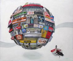 """' Masakatsu Sashie's works are often called """"orb paintings"""" since he paints details from his youth as very detailed, compact spheres. Hailing from Kanazawa, Japan, his art captures the scope of his youthful activities and the orbs often represent memories that fade away from the world.' via Art Info"""