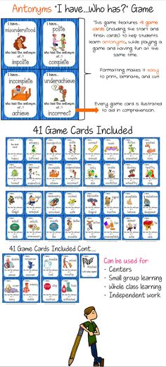 Antonyms (Prefixes) I Have, Who Has Printable Cards - 41 game cards! $ Online Classroom, Classroom Games, Classroom Ideas, Speech Pathology Activities, Speech Therapy, Read 180, Writing Centers, Synonyms And Antonyms, Prefixes