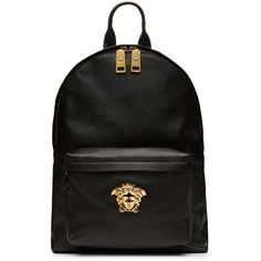 Versace Black Nappa Leather Backpack (€2.720) ❤ liked on Polyvore featuring bags, backpacks, black knapsack, knapsack bags, black backpack, backpacks bags and versace