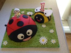 Ladybird and bee cake