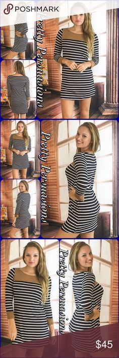 SALE 🎉 NWT Striped Navy & White Mini Dress Tunic NWT Striped Navy & White Mini Dress Tunic   Available in sizes: S, M, L Measurements available upon request   Features:  • navy & white striped pattern  • faux sued yoke neckline & cuffed sleeves  • soft cotton blend w/stretch • rounded neckline • relaxed fit   Bundle discounts available  No pp or trades  Item # 1/2-/3TT09250400NSDT NAVY WHITE STRIPED SHIFT LONG SLEEVE Pretty Persuasions Dresses Mini