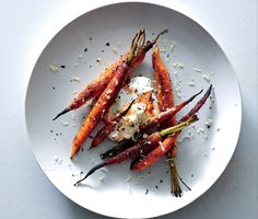 Spice-Crusted Carrots with Harissa Yogurt Recipe | Epicurious.com