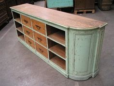 love this vintage shop counter [she moves the furniture: Shop: Izzi & Popo]