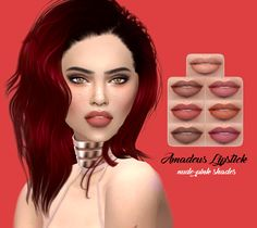 Amadeus Lipstick• 7 swatches • Found in lipstick • Works with Hq • Hope you like it ! • Tag me if you use it ! Download at my blog !Sim by @nonaaasims. Thank you !