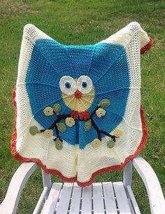 Owl baby afghan, baby blanket, crocheted throw, teal crochet afghan, round baby blanket by OnceUponARoll, $75.00 USD