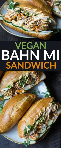 These Vegan Meatball Bahn Mi sandwiches are chock full of pickled veggies and fresh cilantro sprigs, then topped with a creamy sriracha sauce. Perfection in a bun!
