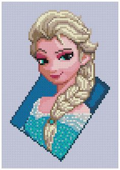 PDF Cross Stitch pattern - The Snow Queen (Frozen) - by PDFcrossstitch I this is a cross stitch design but it would be cool if you could do this with perler beads. Disney Stitch, Motifs Perler, Perler Patterns, Cross Stitch Designs, Cross Stitch Patterns, Cross Stitching, Cross Stitch Embroidery, Beading Patterns, Embroidery Patterns