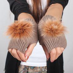 Autumn and winter yarn gloves women's short design rabbit fur ball knitted semi-finger gloves lovely paragraph $4.00