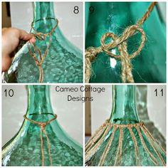 Cameo Cottage Designs: Knotted Jute Net Demijohns or Bottles DIY Tutorial Glass Bottle Crafts, Wine Bottle Art, Diy Bottle, Vodka Bottle, Bottle Torch, Jute, Garrafa Diy, Tutorial Diy, Altered Bottles