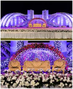 Ahmedabad Wedding photography - candid pictures of the wedding no less than a movie with terrific performances by their family-friends and grand decor. Reception Stage Decor, Wedding Reception Backdrop, Wedding Stage Decorations, Wedding Mandap, Flower Decorations, Sea Decoration, Garland Wedding, Wedding Ceremony, Wedding Dresses