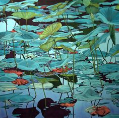 """Mary Sims """"Waterlilies""""   I really enjoy this series because of the way the subject matter is treated. The calm and serene nature of a pond with waterlilies is reflected in the color choice used here."""