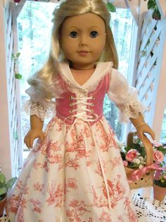 Pink French Regency or Colonial Doll Dress, Emmakate0 $42.99