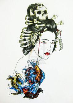 geisha tattoo by iamaryo