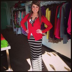 Black and White Striped Maxi Skirt *add a cardi like this for fall/Spring