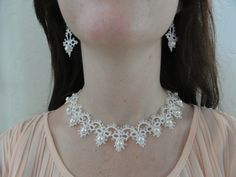 Beautifu Hand Tatted Wedding necklace and earring set. $200.00, via Etsy.