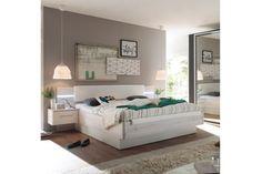 Manželská postel 180 cm - Tempo Kondela - Kentucky (s LED osvětlením a 2 ks. noč. stolky) (dub bílý + bílá)