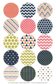Coral Navy Gold Digital Bottle Cap Images – Erin Bradley/Ink Obsession Designs