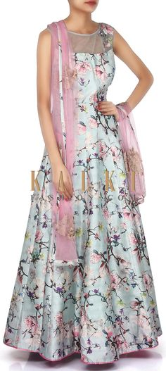 Buy Online from the link below. We ship worldwide (Free Shipping over US$100). Product SKU - 304779. Product Link - http://www.kalkifashion.com/ice-blue-suit-adorn-in-floral-print-only-on-kalki.html