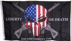 Liberty or Death Amendment USA Punisher Skull Rifles 1789 Flag Skull Flag, Skull Art, American Pride, American Flag, Rifles, Liberty, Punisher Skull, Embroidered Baseball Caps