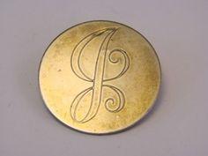 "Vintage Gold Tone Letter ""G"" Pin Brooch"