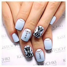 Black pattern nails, Blue moon nails, Christmas shellac, Half moon nails, Half moonnails with rhinestones, Half-moon nails ideas, Ideas of winter nails, Nails with rhinestones ideas