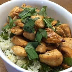 The Body Coach:Honey, ginger, chilli, chilli chicken with super greens Mighty Mouserice & basil! Quick, easy & tasty!