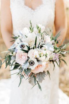 Ethereal bridal bouquet idea - anemones, dusty miller, garden roses, dahlias and eucalyptus {Catie Coyle Photography}